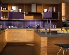 Uncategorized, Island With Sink Idea Feat Cool Bamboo Kitchen Cabinet And Contemporary Backsplash Tile Design: Fresh and Pleasant Kitchens by Cheap Bamboo Cabinets Cabinet Door Styles, Kitchen Cabinet Doors, Kitchen Cabinetry, Dura Supreme Cabinets, Bamboo Cabinets, Base Cabinets, Quartz Kitchen Countertops, Purple Kitchen, Rustic Kitchen Decor
