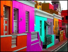 South Africa: Cape Town, Bo-kaap. Street in the historical Malay Quarter of Cape Town. Mostly Muslim inhabitants living here with colorful traditions and houses.: