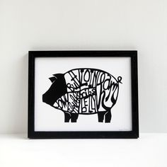 This is a pretty awesome print of a pig butcher chart papercut, with cuts of pork labeled. I cut the original from a single sheet of black paper wi...