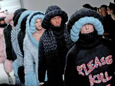 Over-sized, fluffy and fun: A model on the catwalk during the Sibling show