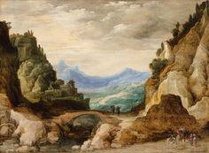 ヨース・デ・モンペル(Joos de Momper)「A Panoramic Landscape with Travellers」