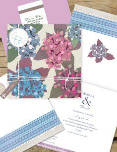 Hydrangea stranger - sweet vintage Lilykiss wedding invitation.