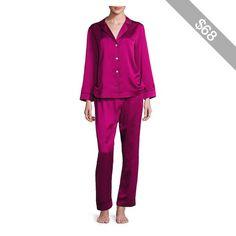 Oscar de la Renta Sleepwear Matte Satin Jacquard Pajama Set