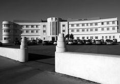 The Midland Hotel, Morecambe, Lancashire, UK. This building is supposed to have amazing sea horse details & I think was used as a set in a Hercule Poirot movie as a modern factory.
