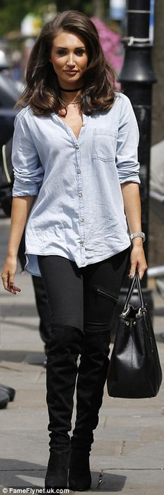 TOWIE wowie! Megan wowed as she stepped out in a plunging denim shirt, teamed with fitted black trousers