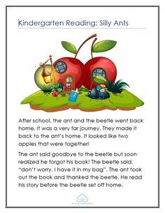 Reading worksheets on Silly Ants English Worksheets For Kids, English Lessons For Kids, Reading Worksheets, Reading Tips, Kids Reading, Reading Skills, Teaching Phonics, English Reading, Kindergarten Reading