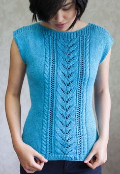 Knitting Pattern for Whakamarie Top - Drop sleeve top with a center panel of lace and cables on the front and waist shaping. Sizes: XS (S, M, L, XL, Blusenspitze Sleeveless Tops Knitting Patterns Sweater Knitting Patterns, Lace Knitting, Knitting Designs, Knit Patterns, Knit Vest Pattern, Top Pattern, Pattern Ideas, Free Pattern, Crochet Shirt