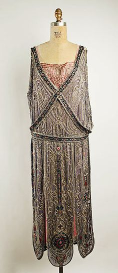Evening dress (image 2) | House of Lanvin | French | spring/summer 1923 |  silk, metallic thread, glass beads | Metropolitan Museum of Art | Accession Number: C.I.62.58.2a, b
