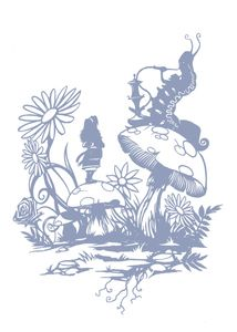 "Image of Luxury Print ""Alice & The Caterpillar"" Alice In Wonderland (Powder Blue)"