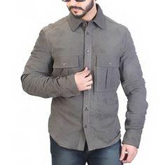 Bareskin grey colour genuine suede leather shirt for men Grey Leather, Leather Jacket, Gray Color, Slim, Shirt Dress, Mens Tops, Jackets, Shirts, Stuff To Buy
