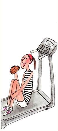 girl on treadmill eating
