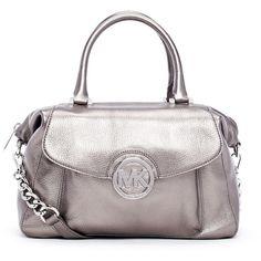 MICHAEL Michael Kors Large Fulton Metallic Pebbled Leather Satchel Bag ($328)  liked on Polyvore