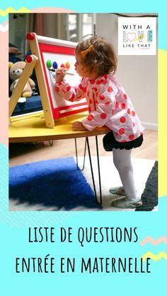liste questions entrée en maternelle / plus sur withalovelikethat.fr Alice, Kids Rugs, Education, Inspiration, Sick Kids, List Of Questions, Biblical Inspiration, Kid Friendly Rugs