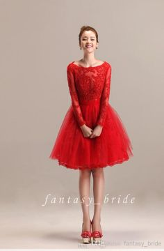 Elegant Party Dress Red Tulle Party Dresses With Long Sleeve Bateau Back Zipper A Line Knee Length 2015 Formal Christams Homecoming Dress Direct Manufacturer Juniors Dresses From Fantasy_bride, $96.42| Dhgate.Com