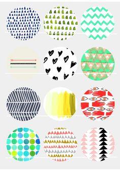 Motifs Géométrie 12 Images/Dessins digitales pour cabochon 25/20/18/16/15/14/12/10/8 mm Rond/Carré/Ovale