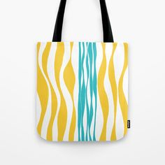 Ebb and Flow - Turquoise & Yellow Tote Bag by laec | Society6