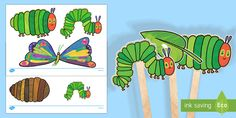 Stick Puppets to Support Teaching on The Very Hungry Caterpillar Hungry Caterpillar Activities, Very Hungry Caterpillar, Bug Activities, Sequencing Activities, Story Sack, Story Story, Caterpillar Pictures, Story Sequencing, Butterfly Life Cycle