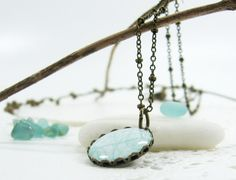 Turquoise Marble on White Necklace 320  FREE by CutTheFish on Etsy, $19.00