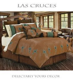 Las Cruces bed in a bag western comforter set features a rich tan faux leather comforter with embroidered turquoise crosses framing the comforter's edge. A turquoise and chocolate brown micro suede accent highlights the two tone pillow shams and neckroll pillow completing the true southwestern look any cowboy or cowgirl will love coming home to. Embroidered western cross sheets available separately. Western bedding in twin, full, queen and king size.