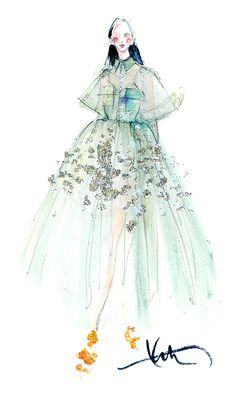 WEEK6:Graphite pencil/Katie Rodgers/New York based fashion illustrator/ Material:watercolor, color pencil, mix media/This illustration looks beautiful through combined mix media and watercolor, Katie Rodgers applied watercolor throughout the illustration, then applied shimmer mix media in the dress, which makes the illustration looks better and emphasizing the dress.