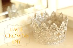Use lace trim, paint, glitter and Mod Podge to make a DIY lace crown. These are perfect for a princess party or just for dress up! Birthday Diy, Princess Birthday, Princess Party, Little Princess, Girl Birthday, Birthday Parties, Birthday Crowns, Birthday Nails, Disney Princess