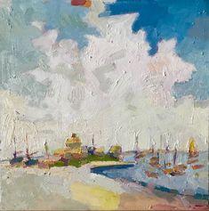 "Nantucket Island, Jetties Beach, oil on board, 12 x 12 "" www.henryisaacs.com"