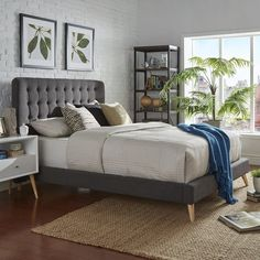 Featuring stylish button tuffed details, this HomeVance Peralta bed makes a statement in your bedroom. Grey Upholstered Bed, Headboard Decor, Tufted Bed, Bedroom Decor, Bedroom Retreat, Bedroom Ideas, Light Gray Bedroom, Small Master Bedroom, Arquitetura