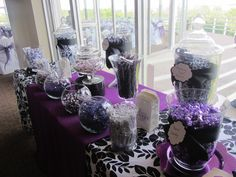 Purple Candy Table ☺ Candy and Purple. My 2 faves 💜😍 Reception Table Decorations, Wedding Decorations On A Budget, Church Decorations, Candy Decorations, Centerpiece Ideas, Wedding Reception On A Budget, Wedding Ideas, Wedding Stuff, Wedding Simple