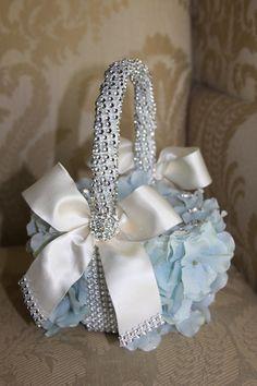 Placid  blue flower girl basket  flower crown by TheCrystalFlower, $95.00