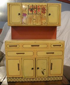 Vintage, Tin Lithograph, Toy Kitchen Cabinet