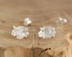 Herkimer diamond stud earrings Sterling silver raw stone earrings Crystal quartz studs Modern minimalist jewelry by Freesize #sterlingsilverjewelrymodern