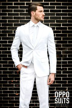 "It's hard to stand out at a white party, but its possible in this Men's Opposuits White Knight Suit. This sleek all white suit will leave them asking ""Who IS that guy? All White Prom Suit, White Wedding Suits For Men, Wedding Tuxedo Styles, Mens White Suit, Black White Parties, White Suits, Mens Suits, White Tuxedo Wedding, Suits For Guys"