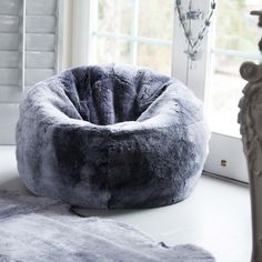 Small Sheepskin Bean Bag In Silver & Grey Small Bean Bags, Small Bean Bag Chairs, Small Chairs, Bedroom Seating, Bedroom Chair, Bedroom Decor, Small Game Rooms, Casa Milano, Leather Recliner Chair