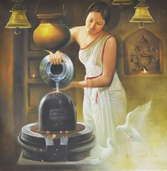 Shiva linga is a symbol of reproduction Indian Women Painting, Indian Art Paintings, Indian Artist, Indian Artwork, Awesome Paintings, Beautiful Paintings, Shiva Linga, Shiva Shakti, Durga Kali