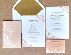 Our pretty in pink Ampersand collection, printed onto soft linen paper with sparkly gold envelope liners