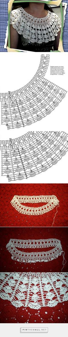 Captivating Crochet a Bodycon Dress Top Ideas. Dazzling Crochet a Bodycon Dress Top Ideas. Col Crochet, Crochet Lace Collar, Crochet Diagram, Crochet Poncho, Crochet Chart, Thread Crochet, Crochet Scarves, Crochet Motif, Crochet Designs