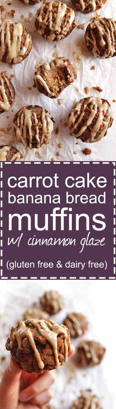 Carrot Cake Banana Bread Muffins with Cinnamon Glaze - the two best treats combined. These muffins are loaded with bananas, carrots and topped with a cinnamon glaze. This recipe is perfect for brunch, Easter, or Mother's Day. Gluten Free/Dairy Free/Refined sugar free | robustrecipes.com
