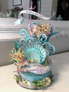 Goddess of the Sea Mermaid Cake Topper, Centerpiece, Keepsake Box, Art Piece Gift Box Cakes, Goddess Of The Sea, Mermaid Cakes, Baby Mermaid, Custom Cake Toppers, Seashell Crafts, Cute Cakes, Girly Cakes, Mermaid Birthday