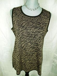 Exclusively Misook L Tank Top Brown Tan Tunic Animal Print Acrylic Knit Shirt #Misook #KnitTop #Career