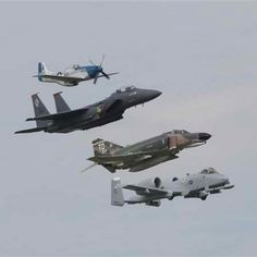 Air Force heritage flight... fantastic, P-51 Mustang, F-15 Eagle, F-4 Phantom, and A-10 Thunderbolt. This is epicness times 4!
