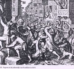 Violence against Jews in Frankfurt am Main, Germany in 1614. Jews were forced to wear a yellow circle on their clothes.