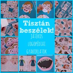 Játékos logopédiai gyakorlatok - videókkal, letölthető rajzos segítséggel English Grammar, Montessori, Baby Kids, Preschool, Activities, Teaching, Education, Logos, Baba