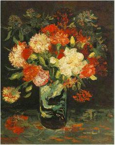 Vincent van Gogh, Vase with Carnations, 1886 on ArtStack #vincent-van-gogh #art