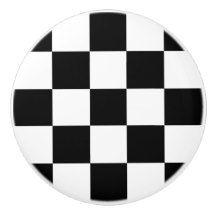Black and White Checkered/Racing Flag Ceramic Knob
