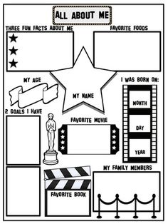 First Day of School All About Me - Movie Theme from House Fly Creations on… Hollywood Theme Classroom, Classroom Themes, Classroom Organization, Future Classroom, School Classroom, Movie Classroom, First Day Of School Activities, Kindergarten Graduation, Movie Themes