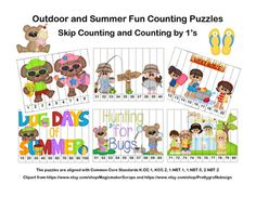 Looking for some activities to keep the kiddos learning?Try my Outdoor and Summer Fun-Skip Counting and Counting by 1s Puzzles. There are 23 Counting Puzzles with numbers ranging from 1-120. Counting is done by 1s, 10s, 5s, and 2s. Different levels are included to allow for differentiation in your classroom.