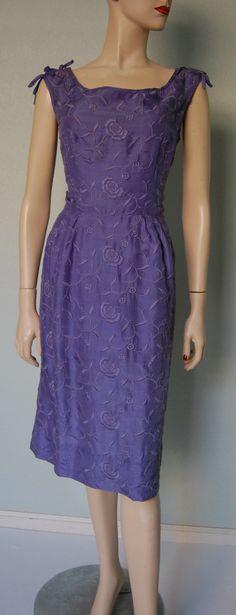 Vintage 50's violet embroidered silk sheath dress