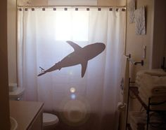 Shark shower curtain - I don't think I'd want one in my bathroom, but it's an awesome look
