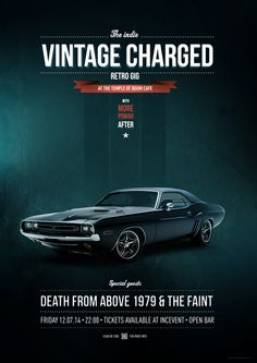 Dodge Charger, Vintage Car / Vintage Charged Poster by Tomasz Przetacznik ( www.thomasonline.pl ) LINK: http://on.be.net/12p9V2v