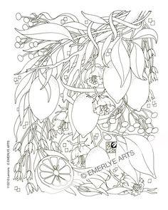 Cynthia Emerlye, artiste du Vermont et papercutter kirigami: Citrons - dessin au trait